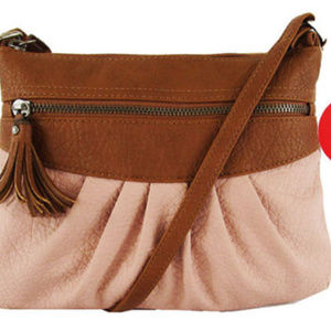 Style&co pink and brown leather crossbody bag$52.0